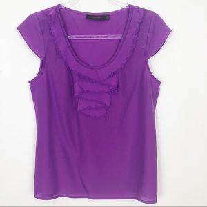 THE LIMITED PURPLE CAP SLEEVE BLOUSE SZ M